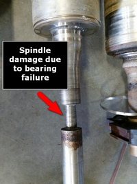 Damaged spindle before replacement fabrication